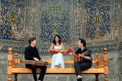 con Ana Alcaide y Bill Cooley en Samarcanda, Uzbekistán